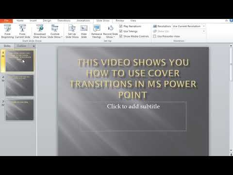How to use Cover Transitions in MS Power Point
