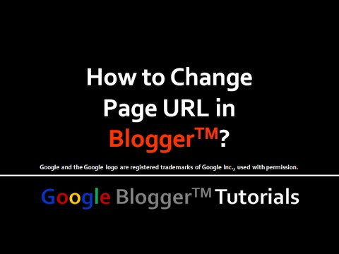 How to Change Page URL in Blogger