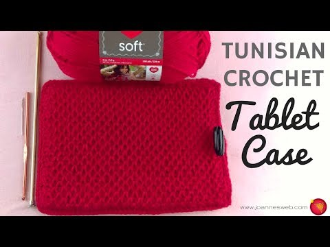 Crochet Tablet Case - Tunisian Afghan Smock Crochet Stitch -