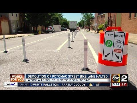 Demolition of Canton bike lane put on hold