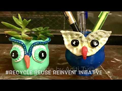 DIY Multipurpose Owl pots !! Reuse Reinvent