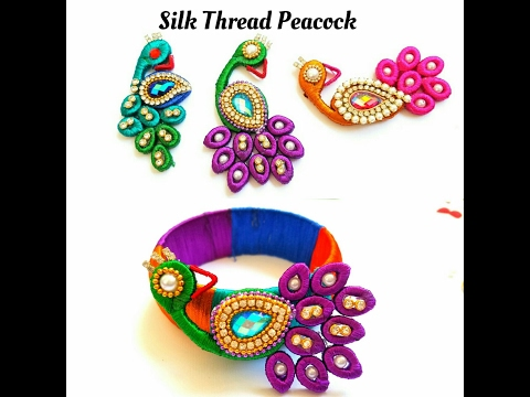 How To Make Silk Thread Peacock |For silk thread bangles\pendants|Quilling paper base