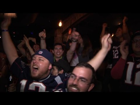 Fans celebrate Patriots Super Bowl win