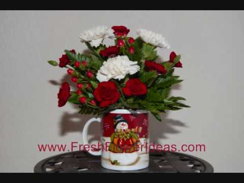 How to Make a Christmas Flower Arrangement in Holiday  Mug