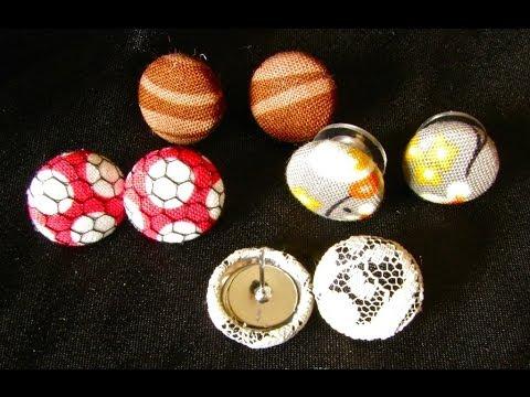 DIY Button Fabric Earrings Tutorial