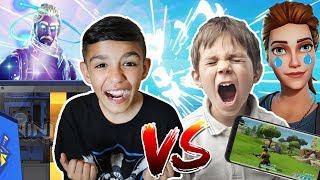 Little Brother Destroys Fortnite Mobile Player! PC vs Mobile Fortnite 1v1!