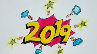 Diy Happy New Year Easy And Colourful Drawing Easy And Simple New