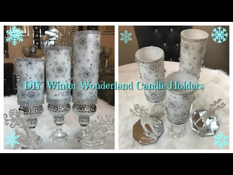 CHRISTMAS DIY - WINTER WONDERLAND CANDLE HOLDERS ❄️☃️🎄 PLUS GIVEAWAY!! 2017