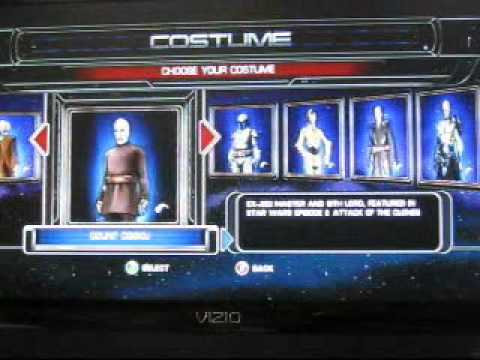 star wars the force unleashed all costumes lightsaber crystals