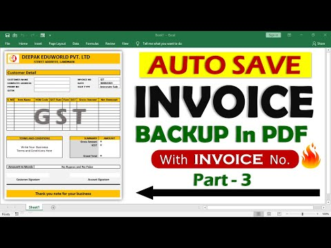INVOICE PART 3 - How To Auto Save Excel Invoice Back Up in PDF With Invoice Number | HINDI