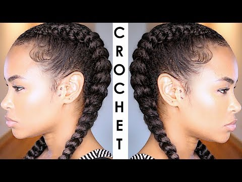 How to Crochet braid your Cornrows! No feed-In/Ghana Braids (natural hair style)