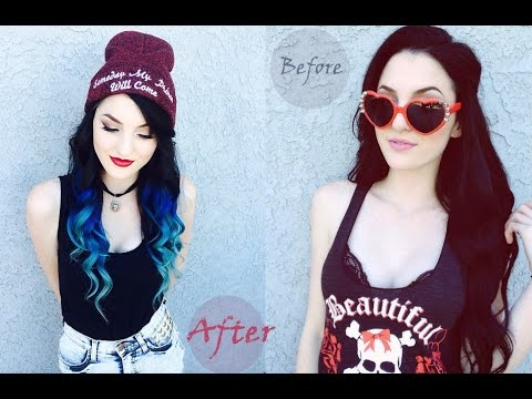 How to Dye Black to Blue Colorful Ombre Hair Extensions