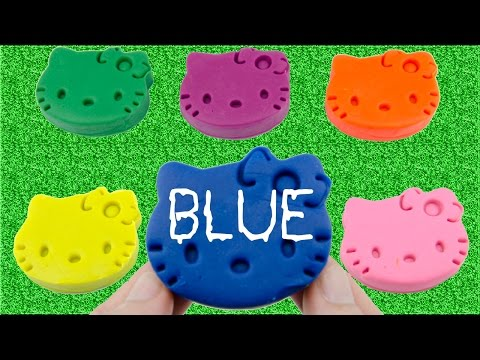Learn Colours with Play Doh Hello Kitty and Fish Molds Fun Creative For Kids