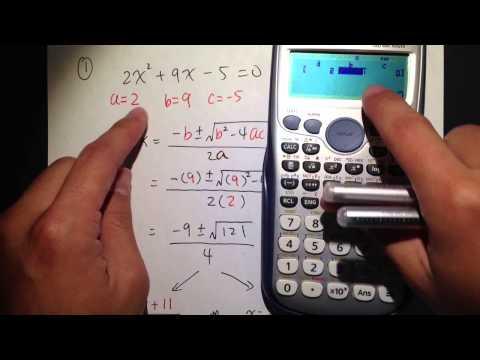 Quadratic Formula (Q1.) w/ calculator Casio fx 115 es plus