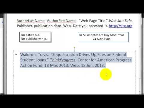 MLA Citations for Web Sites