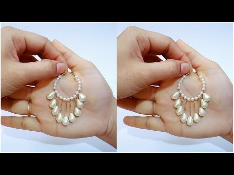 How To Make Simple Pearl Earrings//Hoop Earrings At Home..!