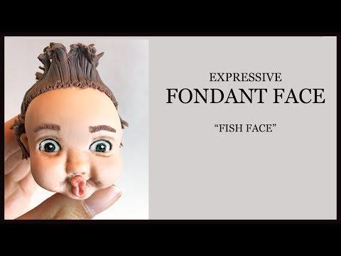 Expressive Fondant Face Tutorial/ Sugar Craft Face Modelling: Boy Fish Face, Spiky Hair