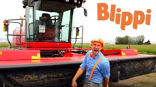 Blippi Explores A Swather | Construction Trucks For Kids | Tractors And Trucks For Children