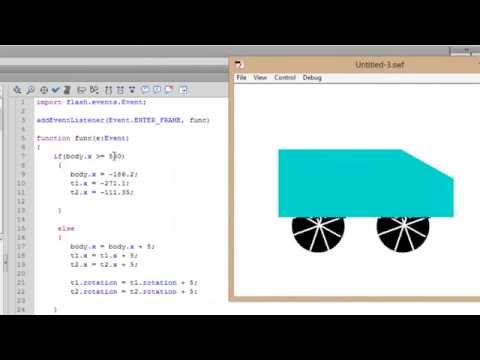 Flash Actionscript Tutorials - Moving Car Animation using Actions - 14