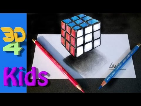 easy 3d for kids Rubik's Cube step by step drawing / #26