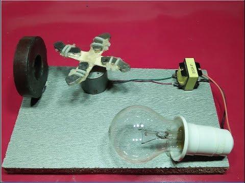free energy generator make a magnet +motor+transformer output 220 volt 100% new technology