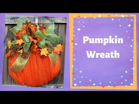 How to make a fall deco mesh pumpkin using a wire wreath form