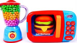 Play Doh and Microwave Hamburger Learn Colors for Children