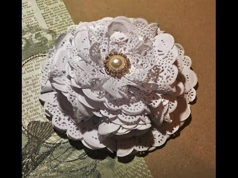DIY how to make a paper doily flower