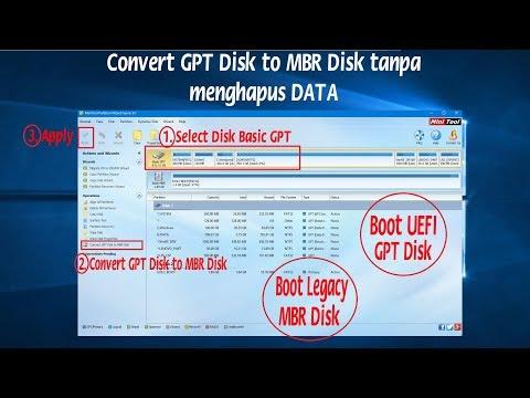 Convert GPT Disk to MBR Disk tanpa Menghapus DATA Sebelum Install Ulang windows