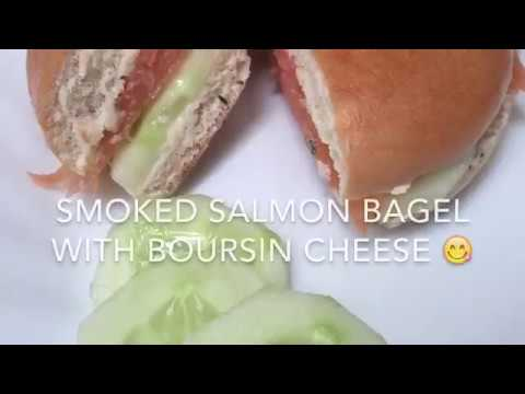 Smoked Salmon and Boursin cheese bagel recipe