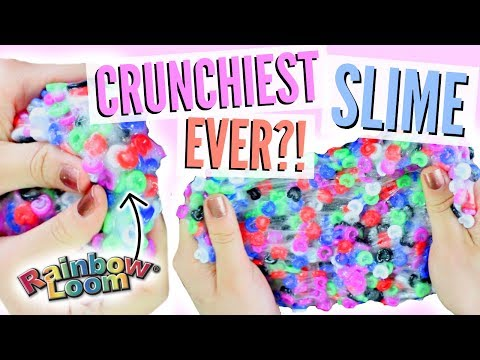 BEST NEW CRUNCHY SLIME?!! MIXING RAINBOW LOOM C-CLIPS AND SLIME! SATISFYING