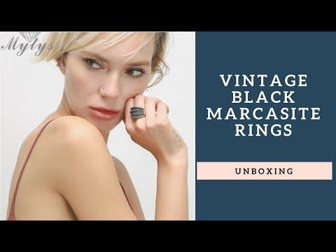 Vintage Black Marcasite Rings UNBOXING - Kara