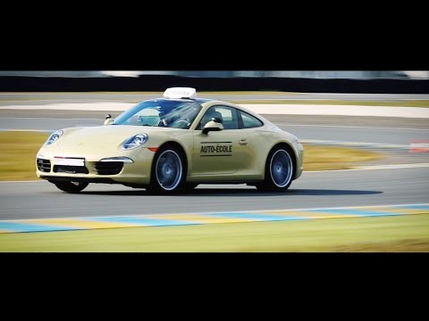 Taking the driving test on a race track