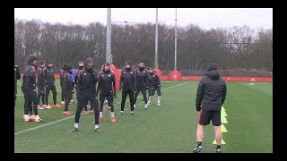 Manchester United train ahead of crunch Sevilla clash