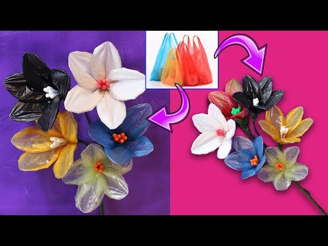 How To make Flower Bunches Using Plastic Carry Bag || Reuse Idea With Carry Bags|| Best Out Of Waste