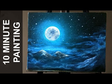 Painting Moonlit Clouds in a Starry Night Sky with Acrylics in 10 Minutes!