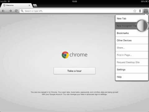 How to open new Incognito tab in iPad chrome