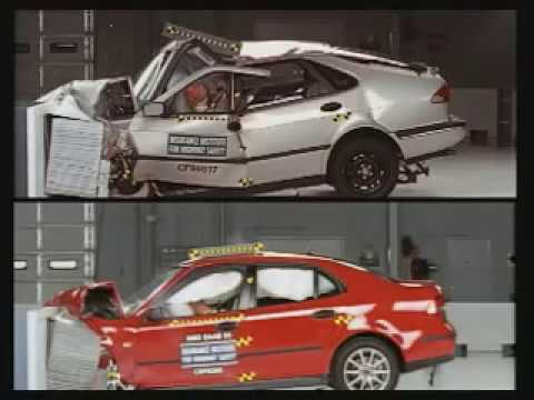 SAAB three generation crash modern unibody.mpg