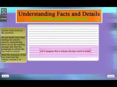 TOEFL iBT Reading Section (Understanding Facts and Details)