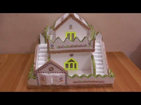 DIY - HOW TO MAKE THERMOCOL HOUSE \THERMOCOL MINI HOME \HOW TO MAKE THERMOCOL  GHAR SCHOOL PROJECT