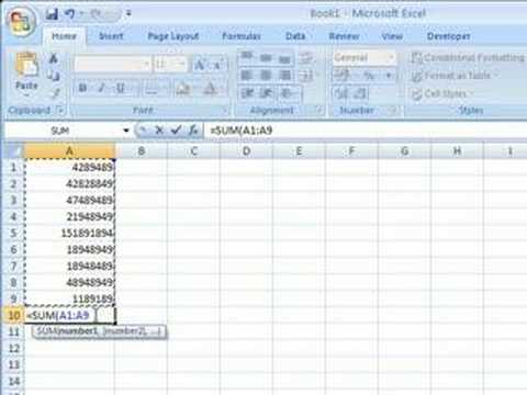 Excel 2007 - Adding Up Cells - 3 Possible Ways