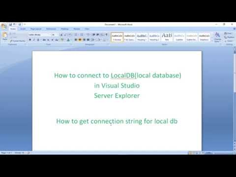 How to connect to LocalDB(local database)