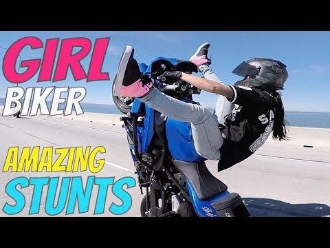 Beautiful GIRL Biker BIKE STUNTS 2017 Wheelie + Drift Harley Sportster + Kawasaki Ninja STUNT RIDING