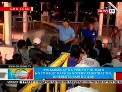 BP: Ipinamimigay na priority number ng COMELEC-Cebu para sa voters' registration, binebenta