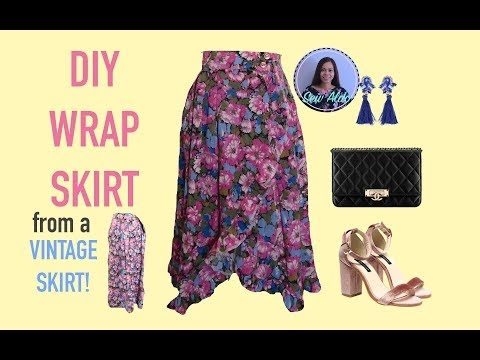 DIY WRAP SKIRT   SEWING PROJECT FOR BEGINNER   EASY WRAP SKIRT WITH RUFFLE