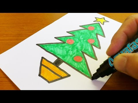 Very Easy !  How to Draw a Christmas tree - Easy and Cute art on paper for kids