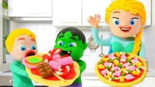 KIDS LEARNING HOW TO COOK PIZZA ❤ PLAY DOH CARTOONS FOR KIDS