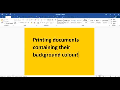 Setting Microsoft Word to Print Background color and images.