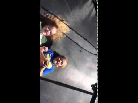 Bouncing Keira And Landon On Trampoline