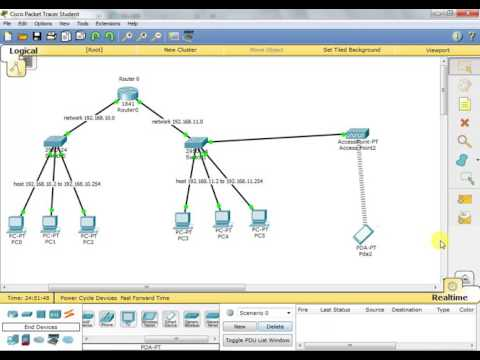 Cisco Packet Tracer | connect wireless device in network using Access Point